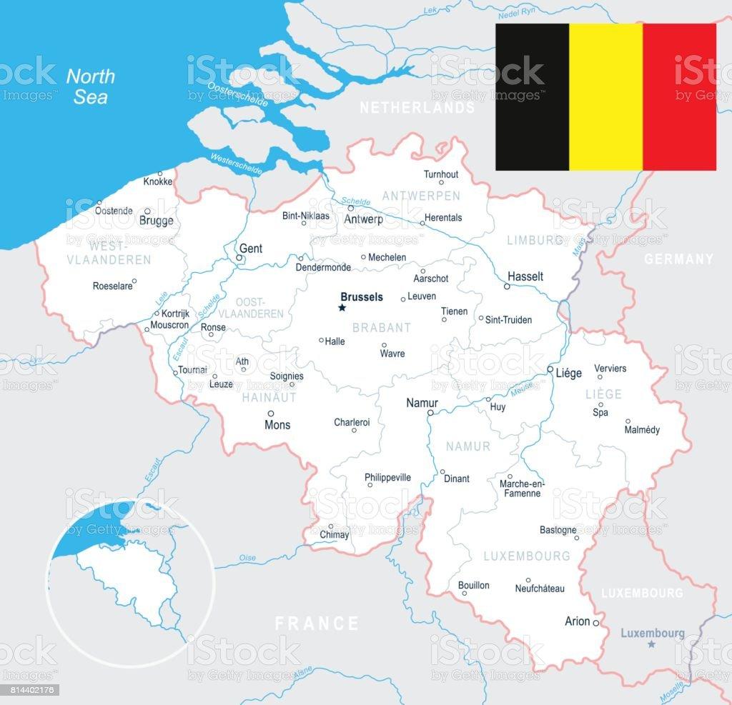 brügge karte Brüssel Antwerpen Gent Brügge Karte Und Flagge Abbildung Stock