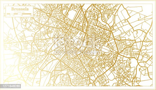 Brussels Belgium City Map in Retro Style in Golden Color. Outline Map. Vector Illustration.