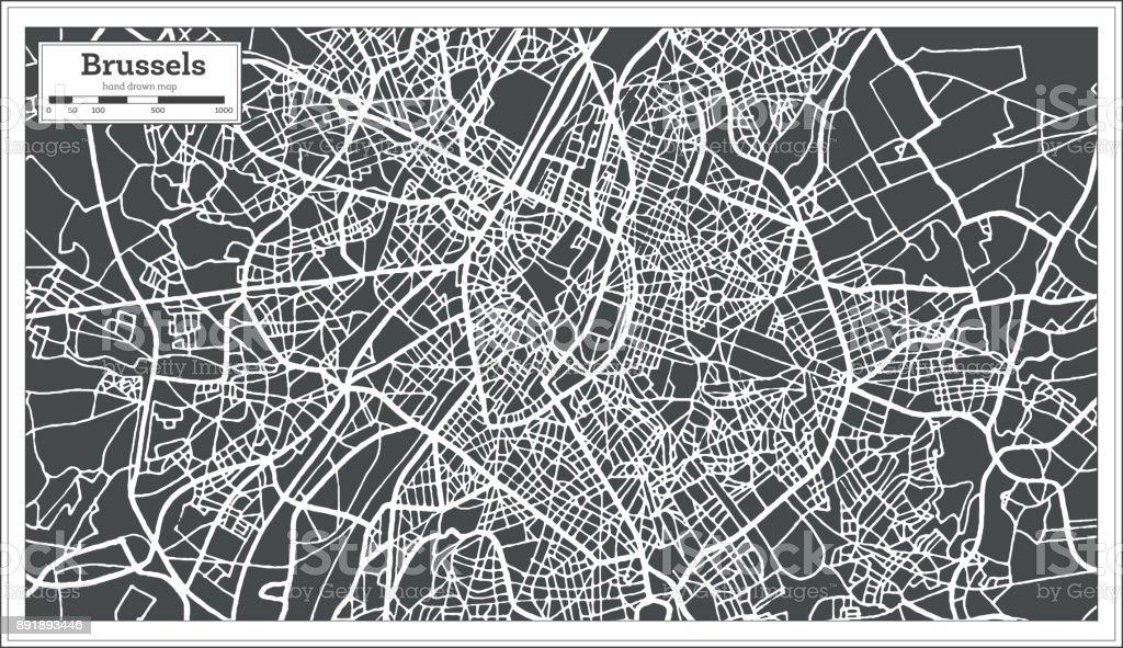 Mapa de Bruselas Bélgica en estilo Retro. Mapa de contorno. - ilustración de arte vectorial