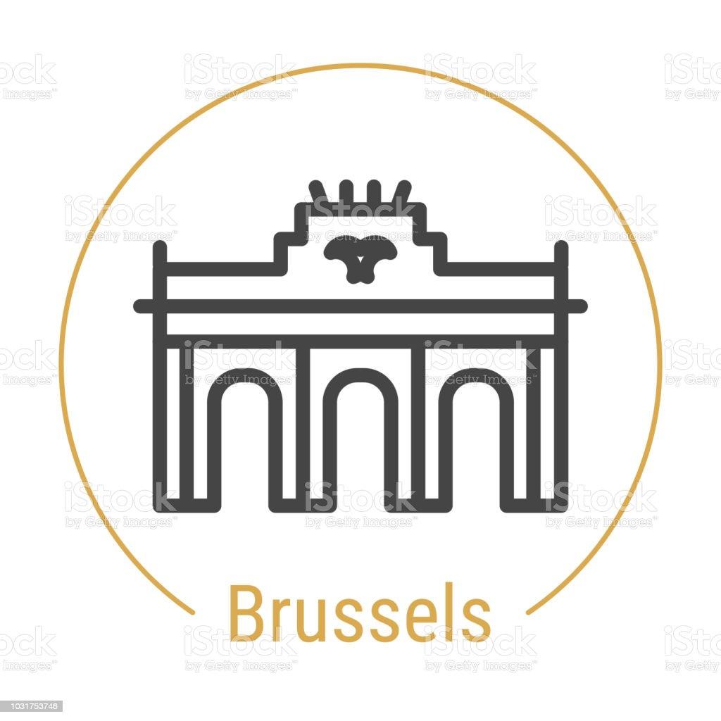 Bruselas, Bélgica del Vector icono de línea - ilustración de arte vectorial