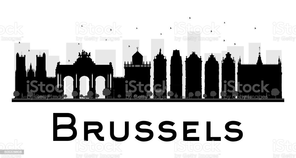 Brussels City skyline silhouette blanco y negro - ilustración de arte vectorial