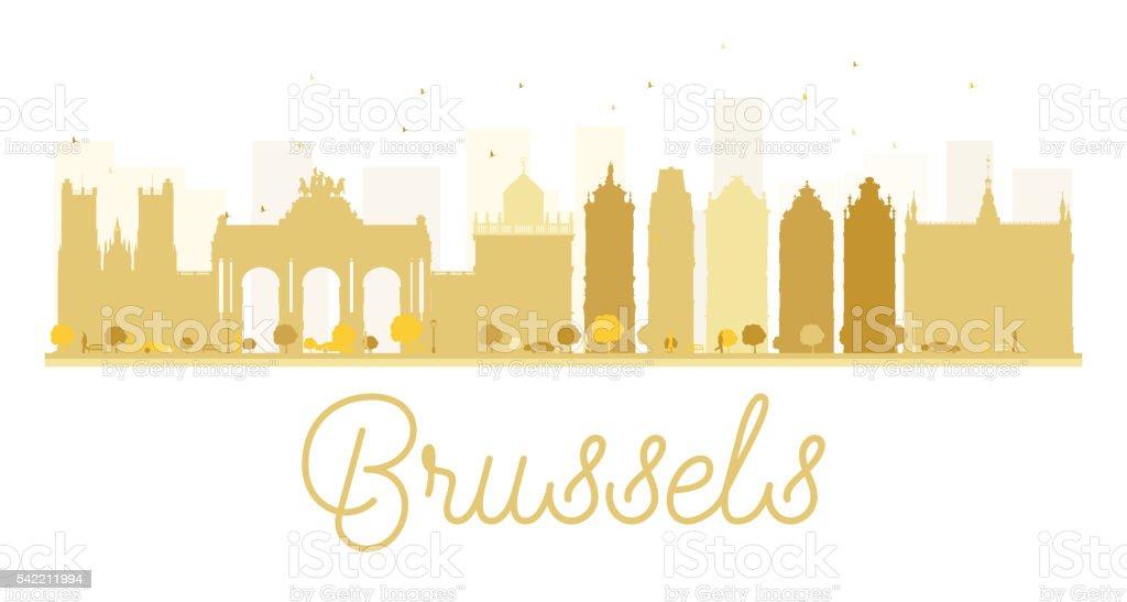 Brussels City Horizonte Silueta Dorada. - ilustración de arte vectorial
