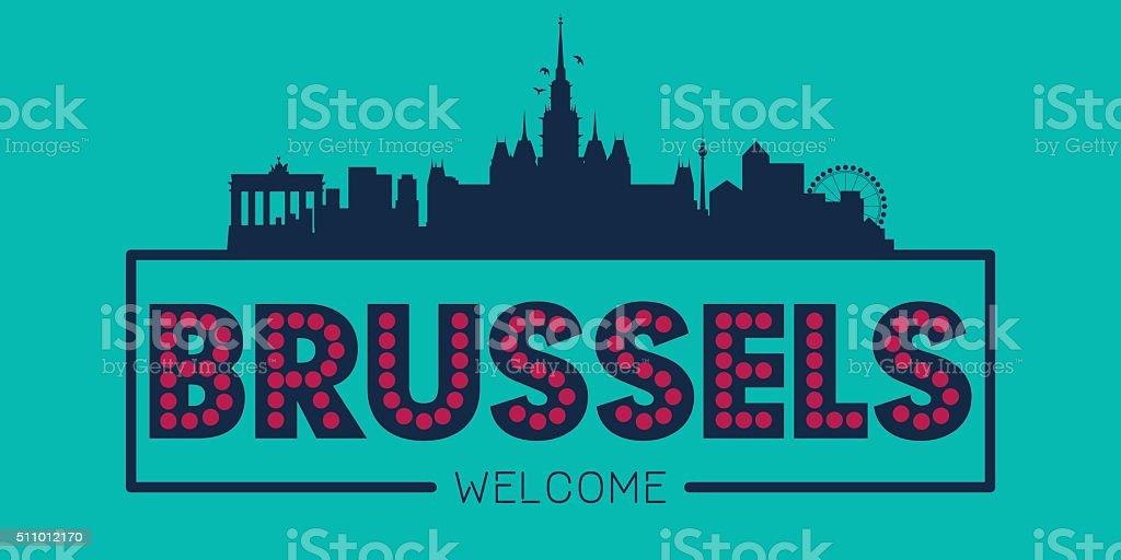 Ilustración del horizonte de la ciudad de Bruselas tipográfica - ilustración de arte vectorial