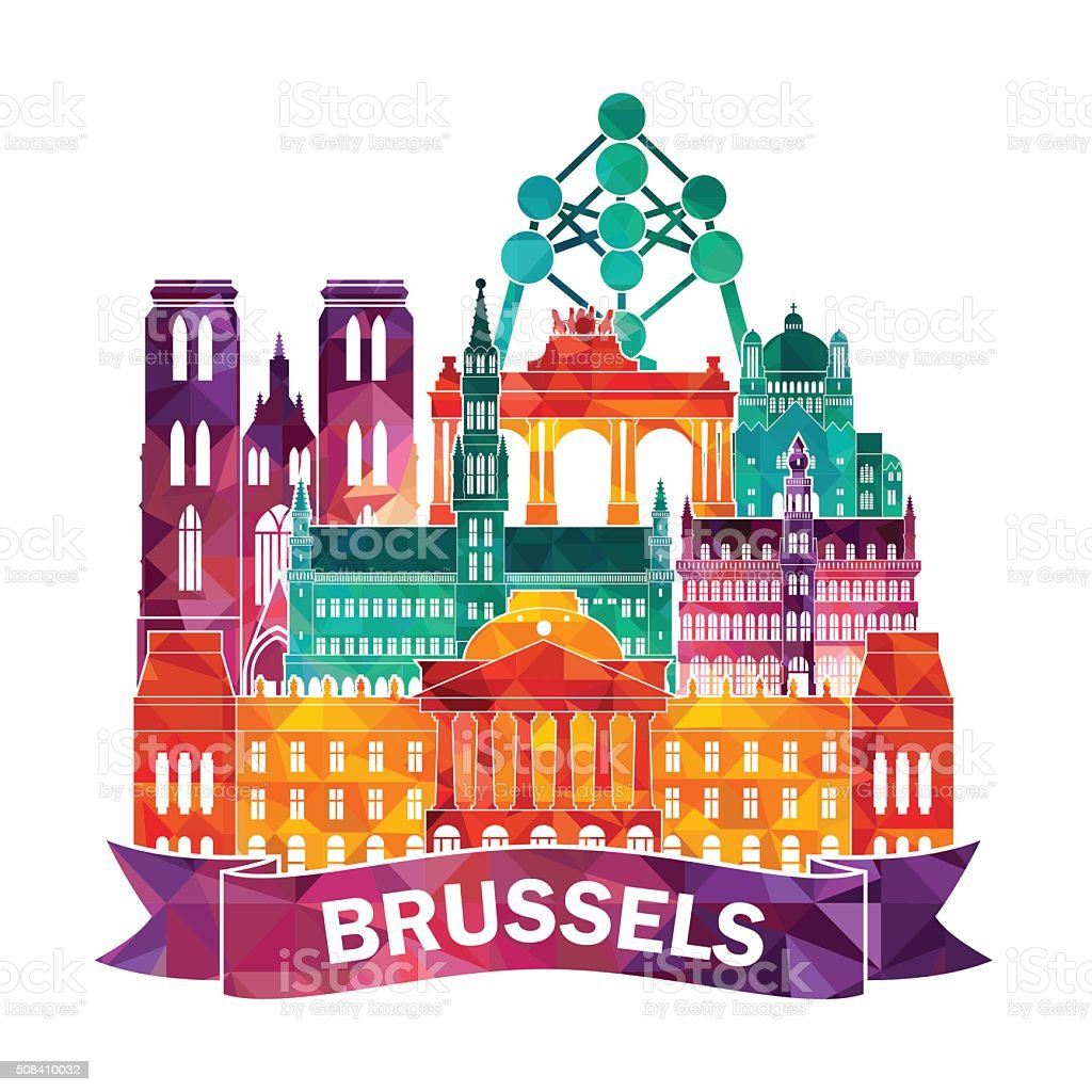 Bruselas detallada silueta. Ilustración vectorial - ilustración de arte vectorial