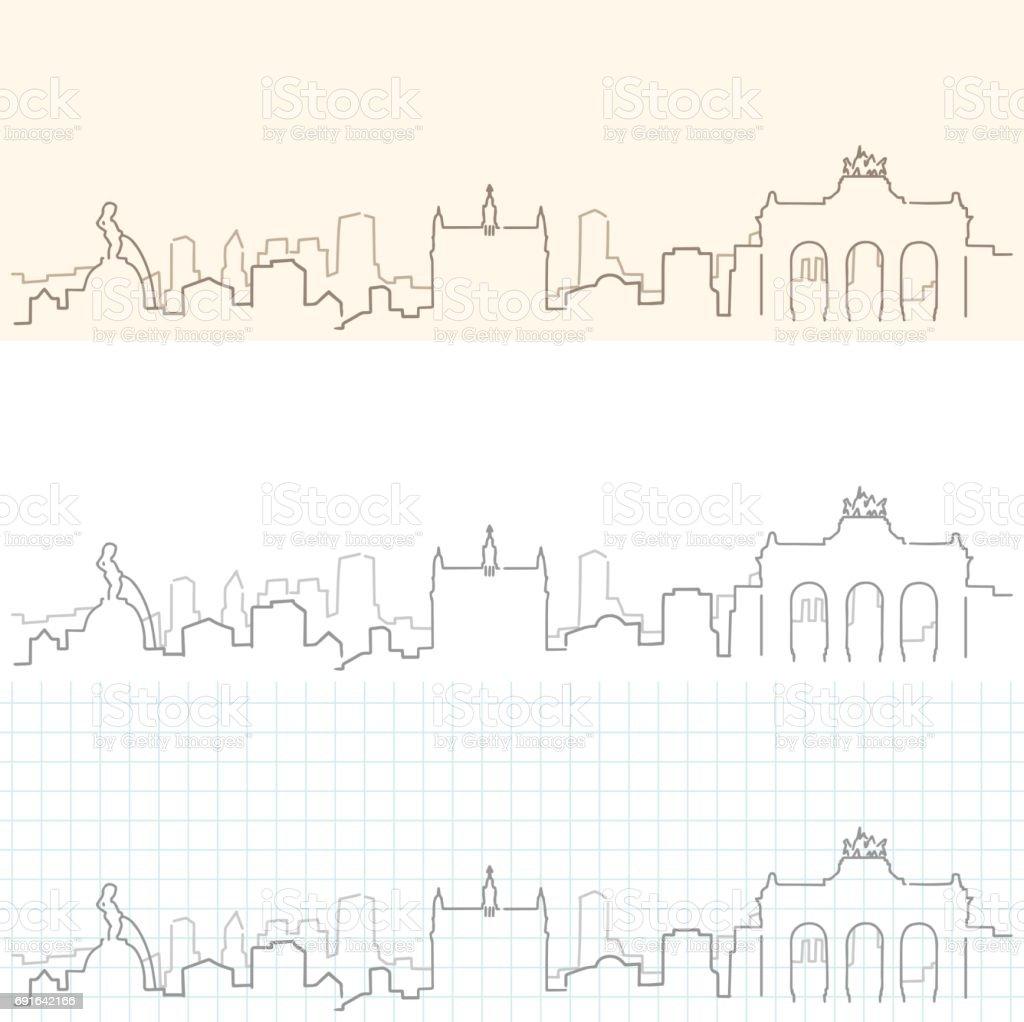 Bruselas horizonte dibujado a mano - ilustración de arte vectorial