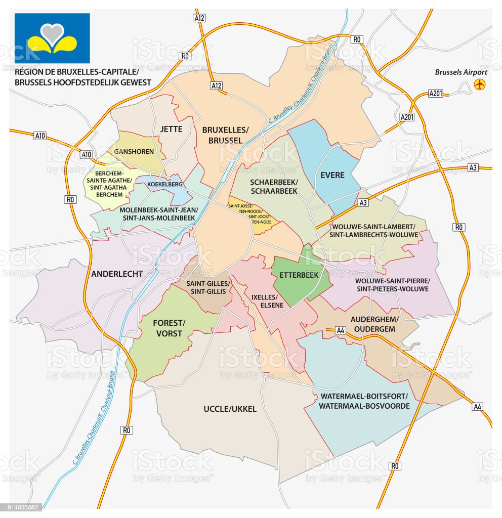 brussels road administrativeand political map with flag royalty free brussels road administrativeand political map