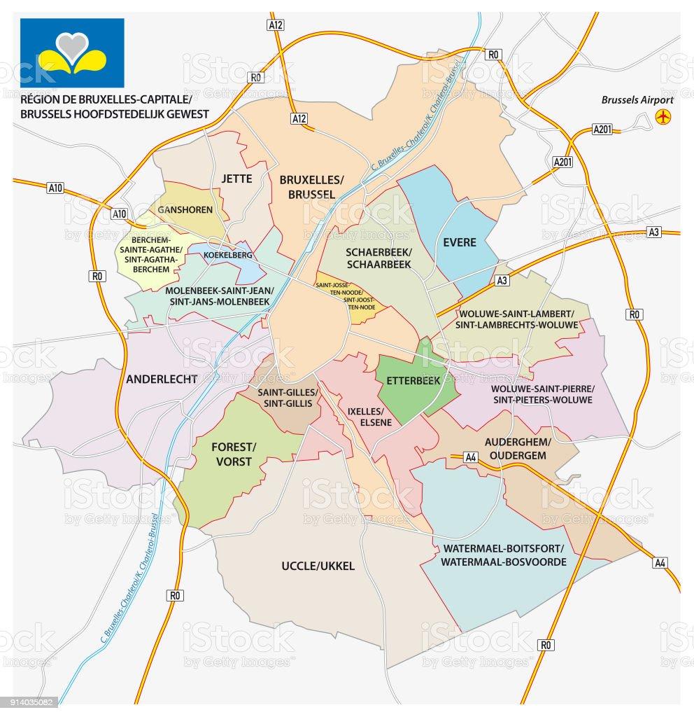 Camino de Bruselas, mapa político de administrativeand con la bandera - ilustración de arte vectorial
