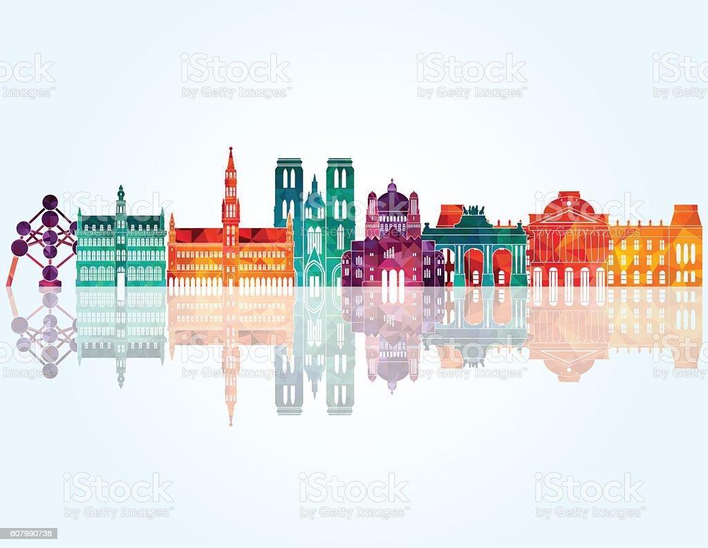 Brussels skyline detailed silhouette. Vector illustration - ilustración de arte vectorial