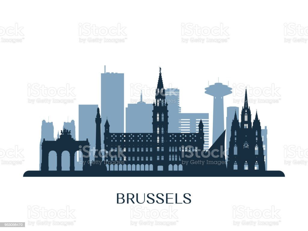 Horizonte de Bruselas, silueta monocromo. Ilustración de vector. - ilustración de arte vectorial