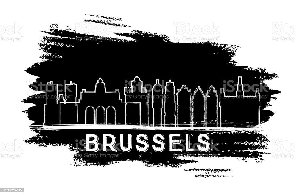 Silueta de horizonte de Bruselas. Boceto dibujado mano. - ilustración de arte vectorial