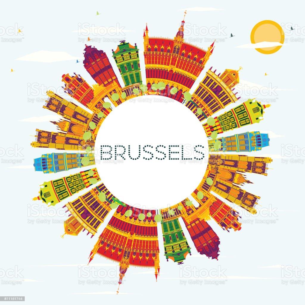 Horizonte de Bruselas con edificios de Color, azul cielo y copia espacio. - ilustración de arte vectorial