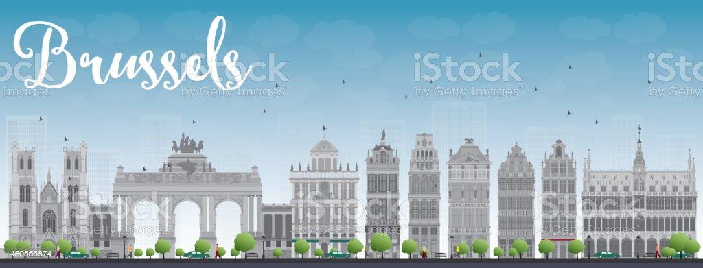 Vista de los edificios de la ciudad de Bruselas con gris edificio y cielo azul - ilustración de arte vectorial