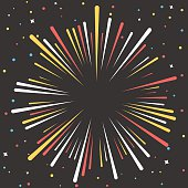 Brust color in a circle, starburst,confetti and stars