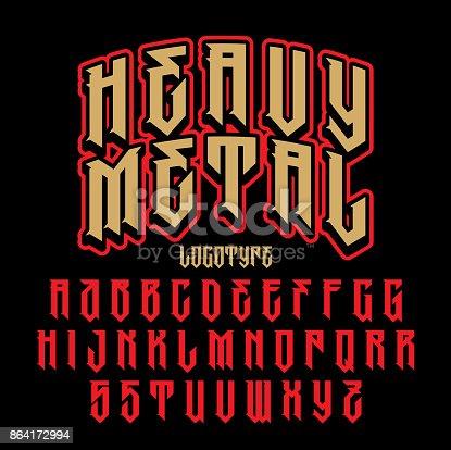 Heavy metal alphabet. Brutal font. Typography for labels, headlines, posters etc.
