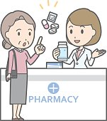 Illustration that a old woman consults a female pharmacist
