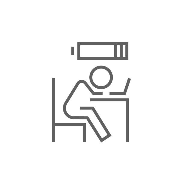 Bsinessman in low power line icon Tired employee sleeping on workplace on laptop keyboard with low power battery sign over his head thick line icon with pointed corners and edges for web, mobile and infographics. Vector isolated icon. mental burnout stock illustrations