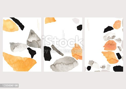 bstract background with Japanese wave pattern vector. Stone and rock in vintage style. Art landscape template design.