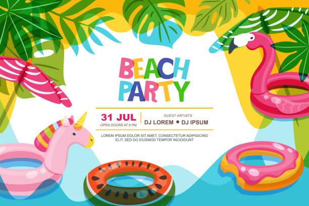 ilustrações de stock, clip art, desenhos animados e ícones de bswimming pool frame with flamingo and unicorn float kids toys. beach party vector summer poster, banner design template. - brinquedos na piscina