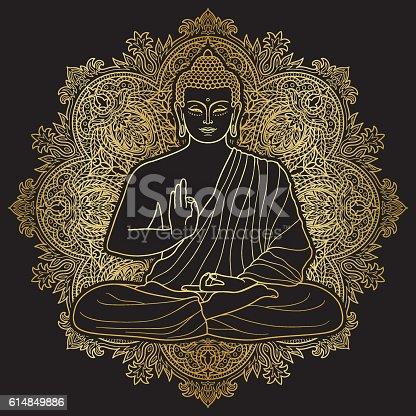 istock Bubbha Sitting in Lotus position 614849886