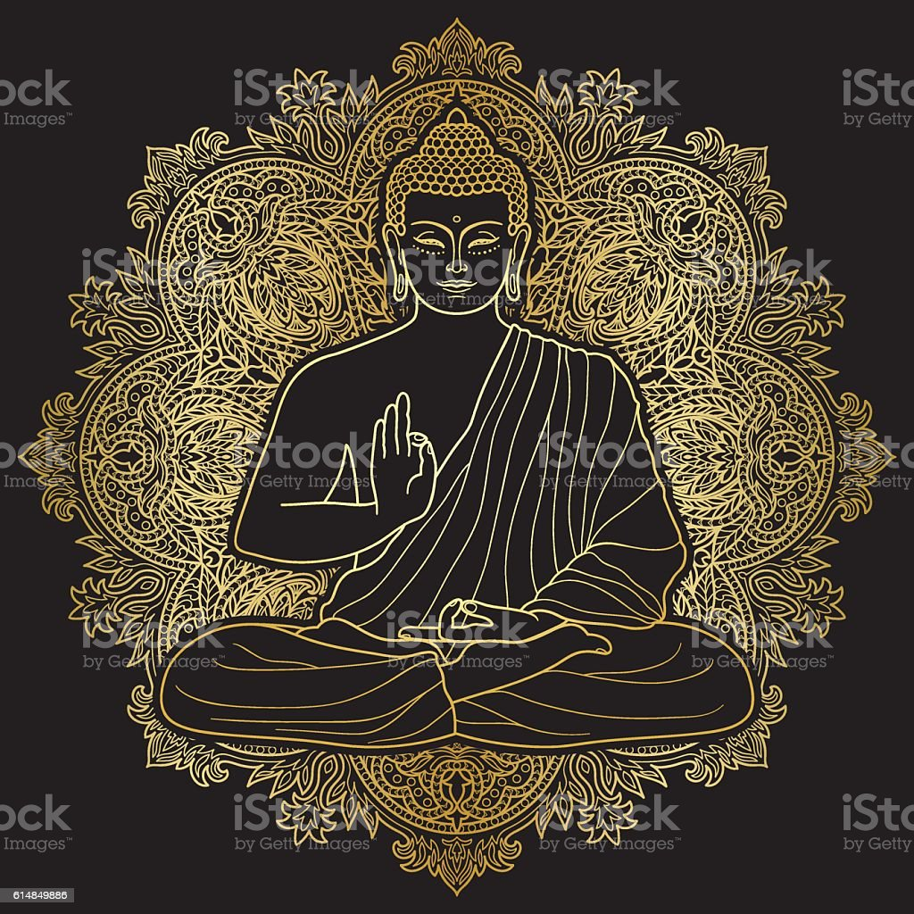 Bubbha Sitting in Lotus position vector art illustration