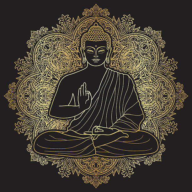 stockillustraties, clipart, cartoons en iconen met bubbha sitting in lotus position - buddha