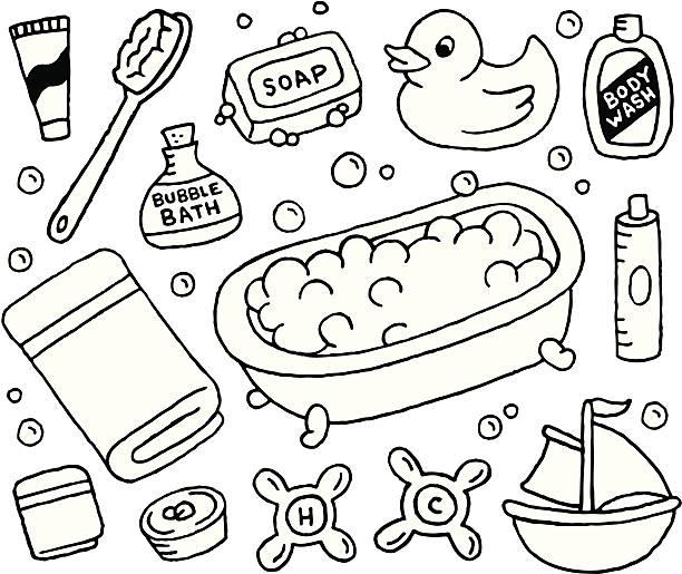 Bubble Bath Doodles vector art illustration