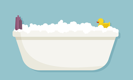 Bubble bath with yellow rubber duck