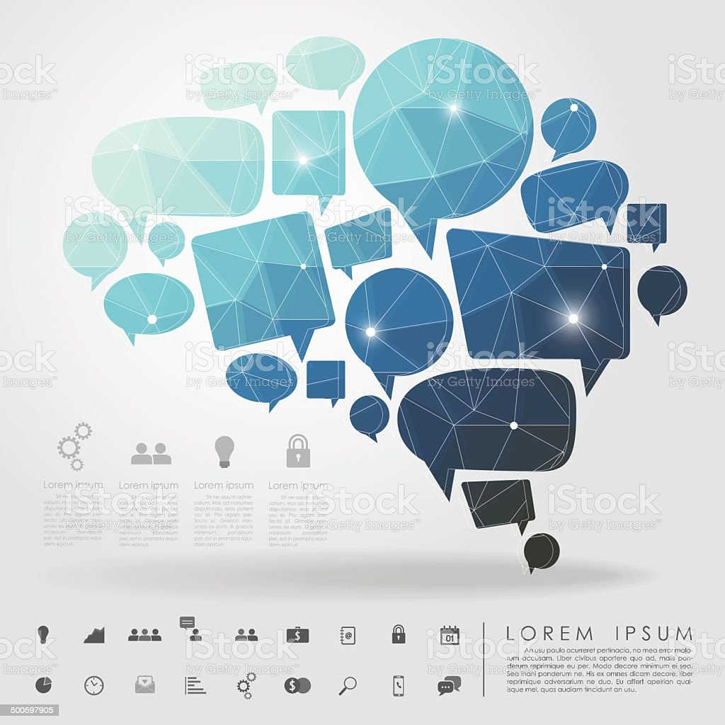 bubble brain geometry with business icon vector art illustration