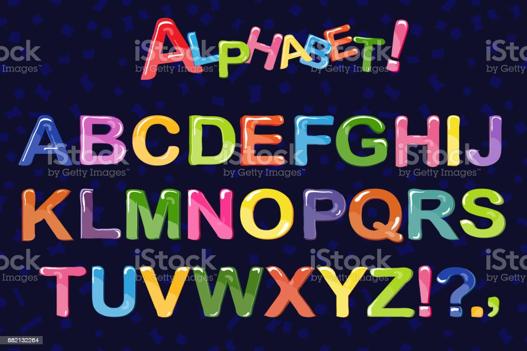 Bubble Cartoon Of Fonts Colorful 3d Jelly Alphabet For Kids