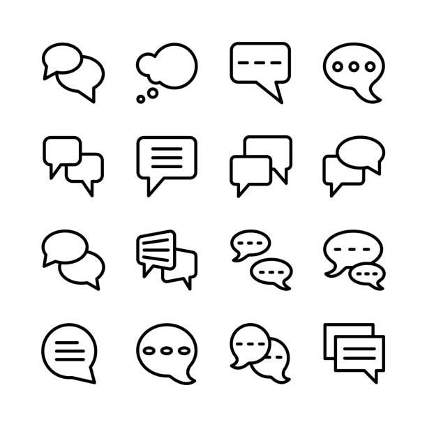 bubble chat icon set line art design editable stroke bubble chat icon set line art design editable stroke roman forum stock illustrations