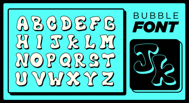 Bubble Font Typescript in Fun and Unique Comic Style for Quirky Liquid Designs Including Full Alphabet Letters vector art illustration