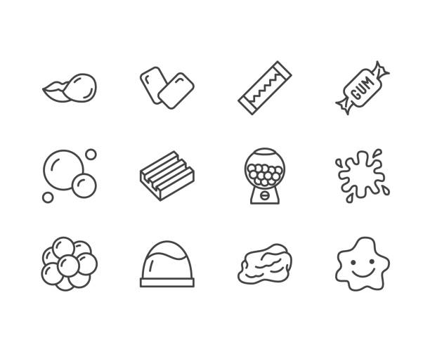 stockillustraties, clipart, cartoons en iconen met bubble gum platte lijn icons set. kauwen snoep in stok, pads, bubblegum pack, slijm blob vector illustraties. omtrek borden voor snoepwinkel. pixel perfect 64x64. bewerkbare lijnen - kauwgom