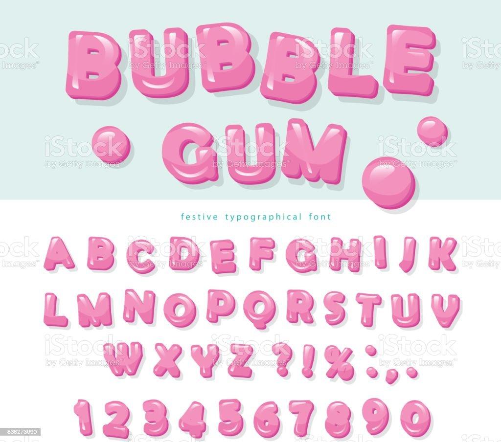 Conception de Bubble-gum de polices. Sweet ABC lettres et chiffres. - Illustration vectorielle