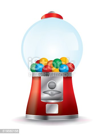A bubble gum machine on a white background. Vector EPS 10 available. EPS contains gradient mesh.