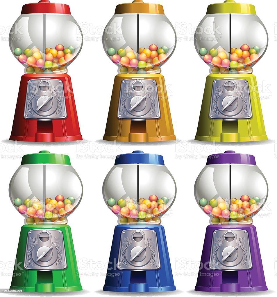 Bubble gum machine in different colors vector art illustration