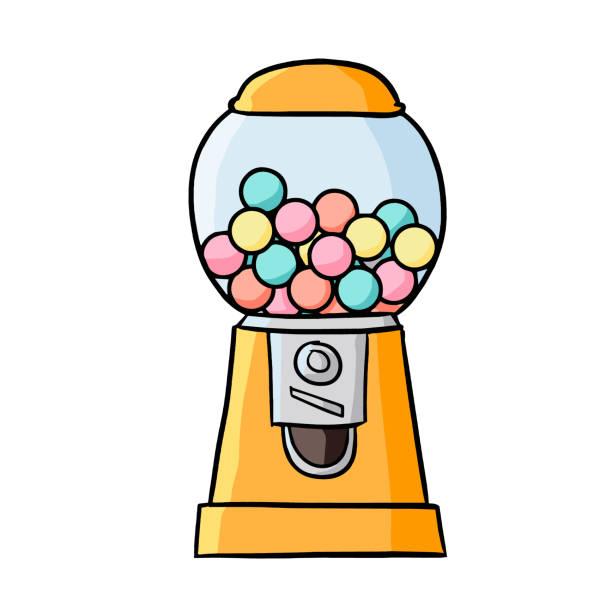 stockillustraties, clipart, cartoons en iconen met bubble gum machine. - kauwgomachtig