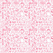 Bubble Gum Vector Seamless pattern. Hand Drawn Doodle Chewing Gums and Candy. Sweets Colorful background