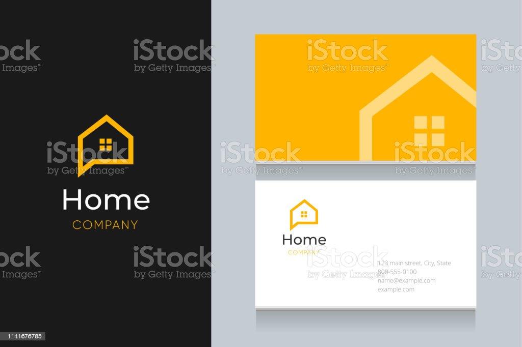 Bubble House Logo Mit Visitenkartenvorlage Stock Vektor Art