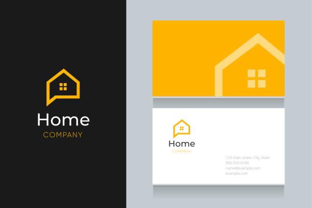 ilustraciones, imágenes clip art, dibujos animados e iconos de stock de logotipo de bubble house con plantilla de tarjeta de visita. - logotipos de bienes inmuebles