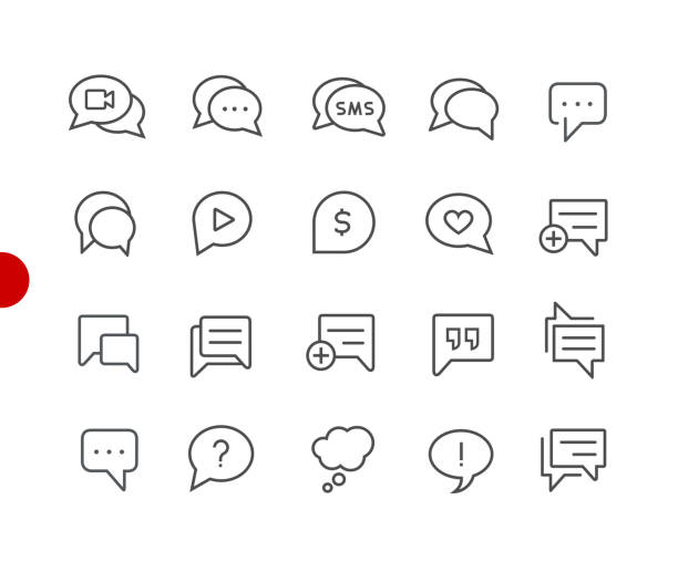 bubble icons // red point series - whatsapp stock illustrations