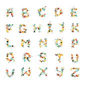 Alphabet letters consist of many color bubbles