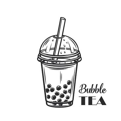 Bubble milk tea outline