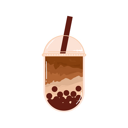 Bubble Milk Tea sweet drink. Fresh boba milk Tea and brown sugar added Taiwan pearl in plastic cup. Vector logo branding elements illustration.