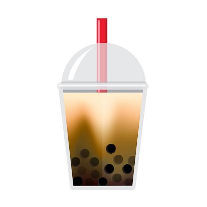 Bubble or Boba Tea Classic Milk Tea Brown Sugar Flavor Full color Icon on white background