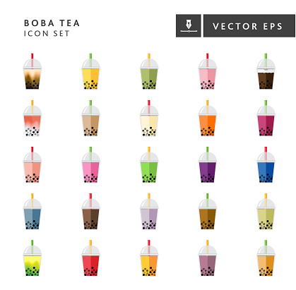 Bubble or Boba Tea Flavors Full color Icon Set on white background