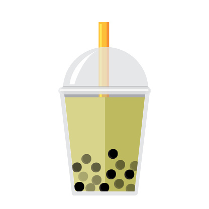 Bubble or Boba Tea Green apple Flavor Full color Icon on white background