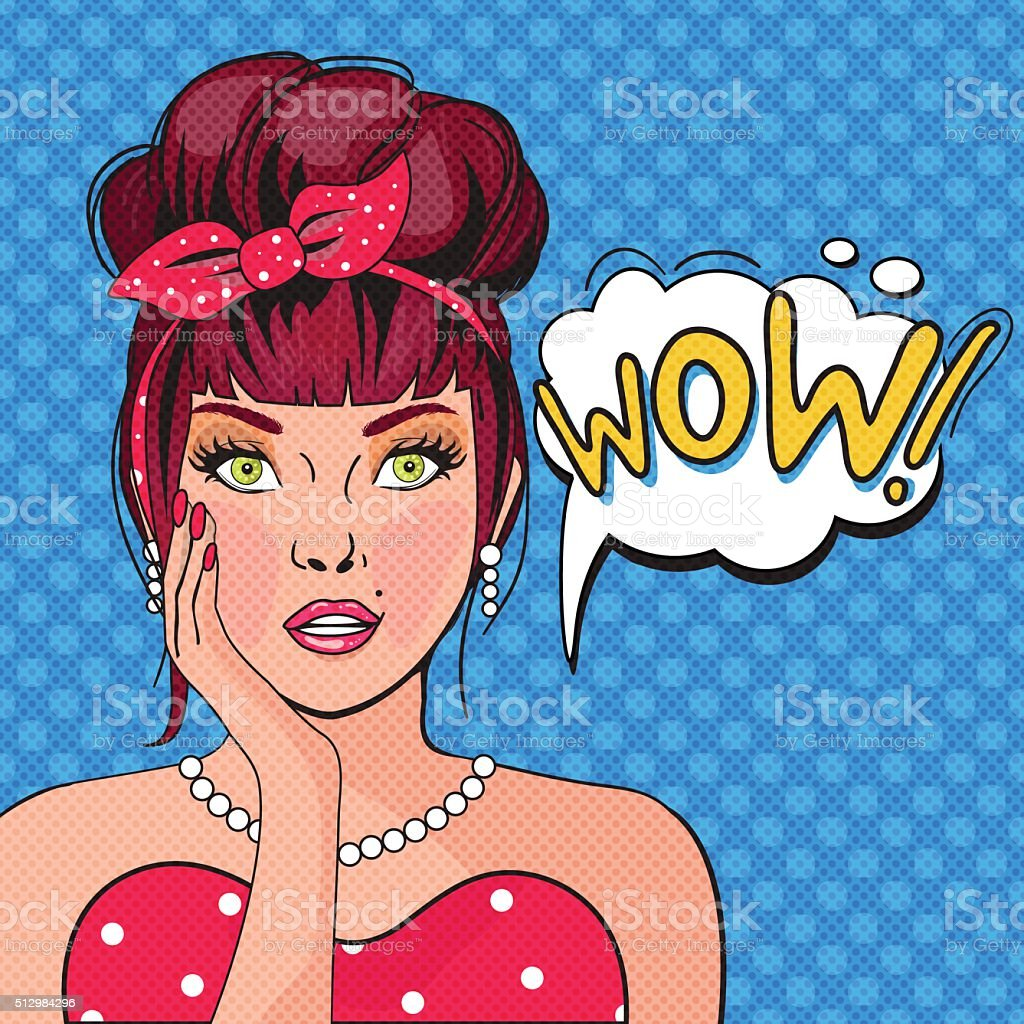 WOW bubble pop art.Surprised Woman With Open Mouth vector art illustration