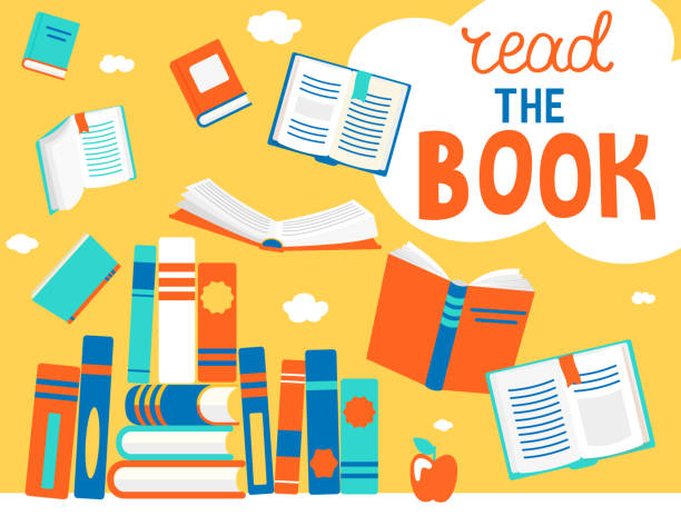 Bubble read the book with books. Close and open books in different positions with bubble read the book. Knowledge, learning, education, relax and enjoy concept design. Vector illustration in flat style. book borders stock illustrations