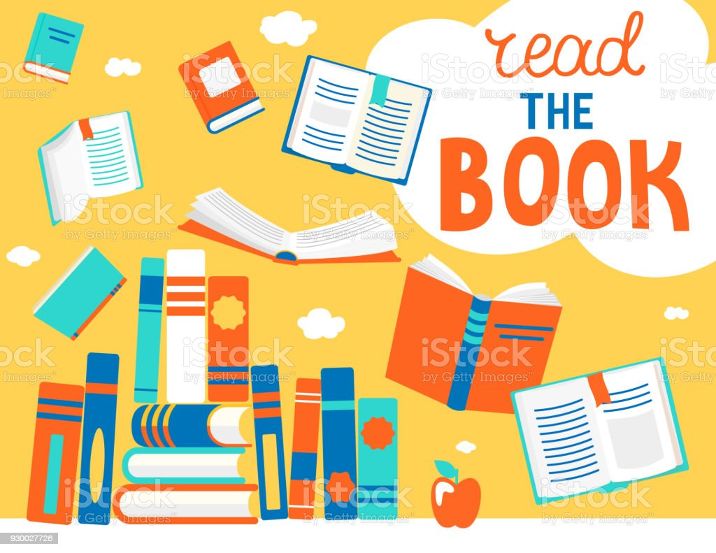 Bolha de ler o livro com livros. - ilustração de arte em vetor