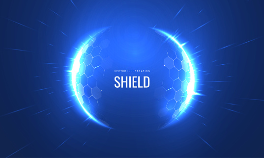 Bubble shield futurictic vector illustration on a blue background. Dome geometric in the form of an energy shield in an abstract glowing style. Cover concept in technological game style